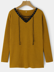Yellow Lace-up Design Deep V-neck Long Sleeves Knitwear