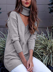 Grey Long Sleeves Sexy V-neck Sweater Dress with Choker