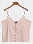 Nude Pink Satin V-neck Adjustable Straps Single Breasted Cami