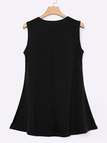 Black Round Neck Flowing Hem Casual Mini Dress
