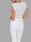 White V Neck Ruched Cropped Vest with Self-tie Back