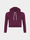 Plain Purple Color Double Straps Front Hooded Crop Sweater
