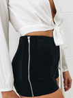 Black High Waist Hotpants With Side Zip