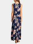 Random Floral Print Sleeveless Maxi Dress in Navy