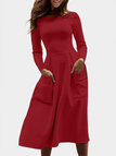Burgundy Solid Color Patch Pockets Midi Dresses