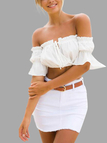 White Off Shoulder Lace-up Front Pleated Crop Top