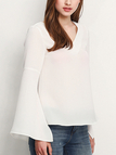 See-through Flared Sleeves Shirt in White