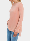 Pink Round Neck patchwork Design Knitted T-shirt