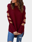 Burgundy Cut Out Round Neck Long Sleeves T-shirt