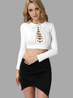 Fashion Lace-up Hollow Front Crop Top in White