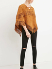 Suede Lace-up Cape with Fringe