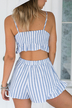 Stripe Pattern Lace-up Crop Top and Short Co-ord