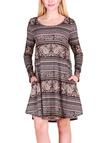 Deep Brown Vintage Pattern Round Neck Long Sleeves Christmas Dress