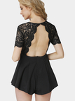 Black Plunging Neck Lace Playsuit with Open Back