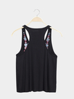 Black Lace-up Embroidered Design Vest with Tassel