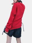 Letter Pattern Splited Design Sweaters in Red