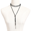 Black Velvet Ribbon Easy-matched Long Necklace with Silver Plated Beads