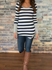 Black Stripe Asymmetric Long Sleeve Top With Grey Cuffs