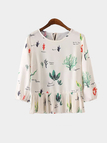 Fashion Round Neck Top with 3/4 Length Sleeves