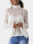 White Lace Details Mock Neck Flared Sleeves Semi Sheer Blouse