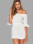 White Sexy Off Shoulder Elastic Waist Dress