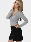 Sexy Grey V-neck Long Sleeves Bodycon Crop Shirt