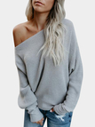 Grey Plain One Shoulder Bat Sleeves Sweater