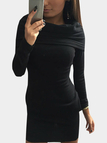 Black Fashion Mini Dress With Ruffled Over-layer
