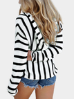 Hooded Design Black Stripe V-neck Long Sleeves Sweatshirts