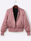 Pink Fashion Quilted Diamond Sleeves Zipper Jacket