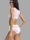 White Mesh High Waist Bikini Set