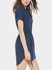 Deep Blue Fashion Curved Hem Shirt Mini Dress