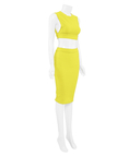 Yellow Back Cut Out Crop Top & Step Hem Midi Skirt Co-ord