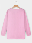 Pink Lace-up Design Long Sleeves Sweatshirt