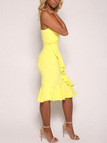 Yellow Sexy V Neck Seleeves Dress With Irregular Hem