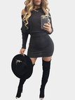 Black Sexy Bateau Long Sleeves Mini Dress