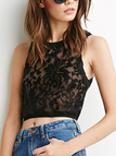 Black See Through Lace Details Crop Top