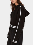 Black Lace-up Design Thicken Causal Hoodie