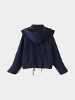 Dark Blue Hoodie Zipper Drawstring Design Short Length Trench Coat