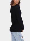 Black Pullover Classic Design Loose Plunge Knitwear