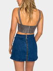 Grey Suede Lace-Up Cropped Bralet