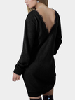 Black Backless Design Round Neck Long Sleeves Dresses