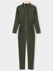 Long Sleeves Lapel Jumpsuits in Army Green With Pockets Design