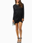 Black Long Sleeves Mini Dress with Cross Front