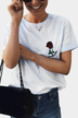 Casual Rose Embroidered Details T-shirts in White