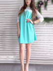 Blue Round Neck Lace Design A-line Mini Dress