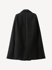 Black Lapel Collar Cape Coat