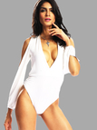 White Plunge Neckline Backless Long Sleeves Sexy Style Bodysuits