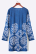 Blue Random Floral Print Long Sleeved Mini Dress