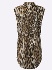 Leopard Pattern Sexy V-neck Mini Dress with Drawstring Waist